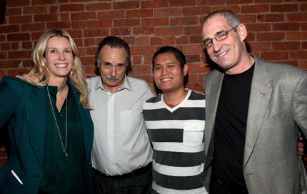 Left to right: John Eisner (Artistic Director, Lark Play Development Center), Arthur Kopit (Playwright and Chair, LARK Playwright Advisory), Samuel D. Hunter and Sandi Goff Farkas